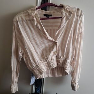 Striped crop blouse f21 size small